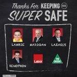 Thanks for keeping our super safe @JacquiLambie @SenatorLazarus @Nick_Xenophon @SenJJMadigan #ausunions #auspol https://t.co/WWIYecjyhc