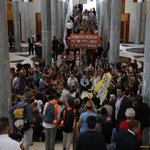 HAPPENING NOW: 250+ people peacefully occupying Parliament House #PeopleNotPolluters #PeoplesParliament #COP21 https://t.co/1MNA1r7cOe