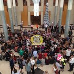 100s peacefully occupying Aus parliament telling politicians to put people ahead of polluters. #PeoplesParliament https://t.co/fFNybZduuA