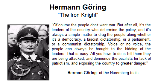 Seems an apposite time to remember this quote, from Nazi Luftwaffe commander Hermann Goering. #terroristsympathiser https://t.co/K5KNo0nQ0P