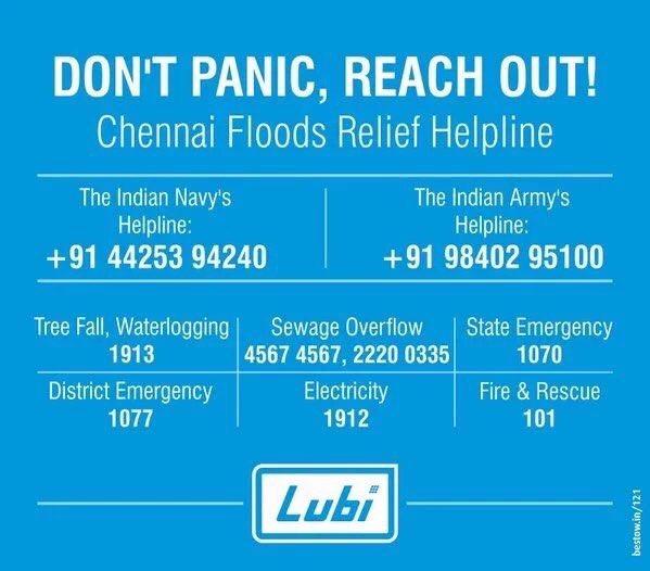 Please retweet this information #ChennaiFloods #ChennaiRainsHelp https://t.co/UfyPpwrkoC