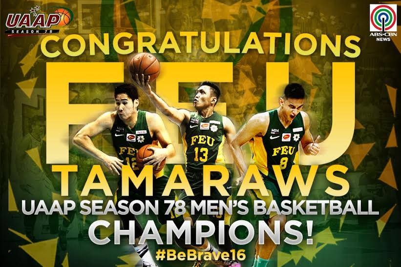 FEU Tamaraws clinch first UAAP title in 10 years, upending the UST Tigers, 67-62 #UAAPSeason78Finals https://t.co/n8g3cUZ5Vk