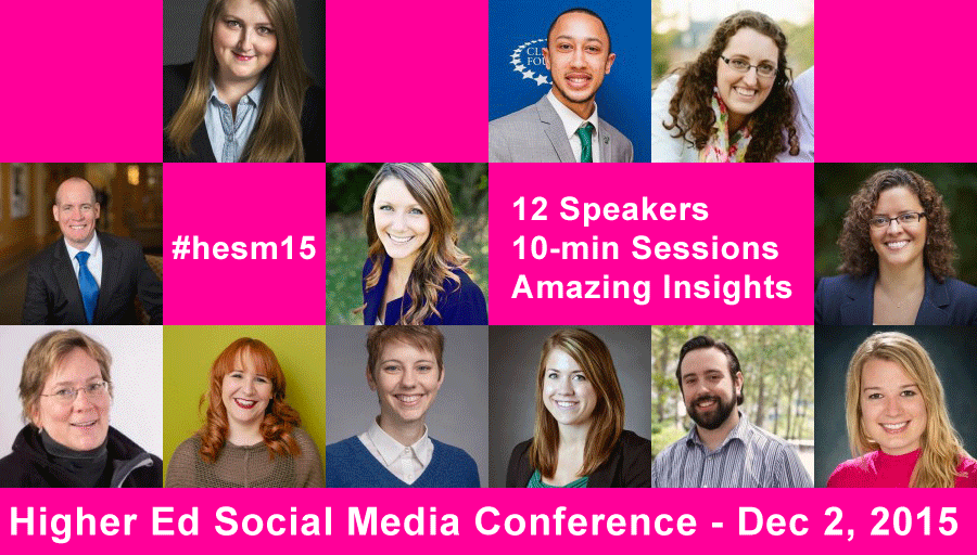Today is Higher Ed Social Media Conference Day! Follow #HESM15 starting at 11AM ET https://t.co/Q9Cw4oKYEQ https://t.co/hFg7JelnuR