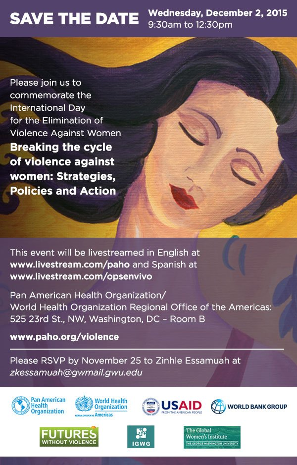 Why is #ViolenceAgainstWomen a public health problem? Watch our special panel today @ 9:30am ET to find out. #16days https://t.co/YWn2Qq3nKh