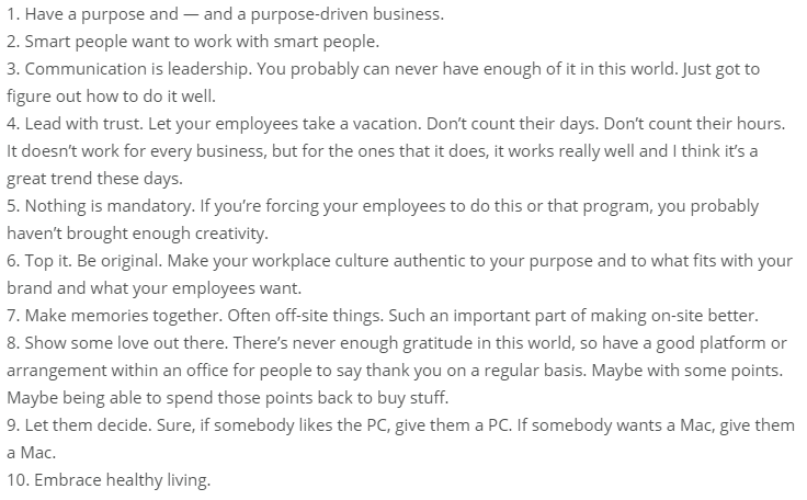 10 traits of great company culture. What's your #11? https://t.co/hqcCCBfD0p