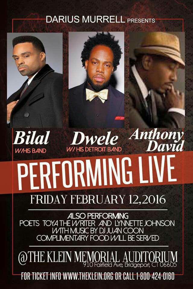 #CONNECTICUT 2.12.16 @THEREALDWELE @JTaitsinger & band will be performing. (@Bilal & @anthonydavidatl) https://t.co/2xnOyStHjD