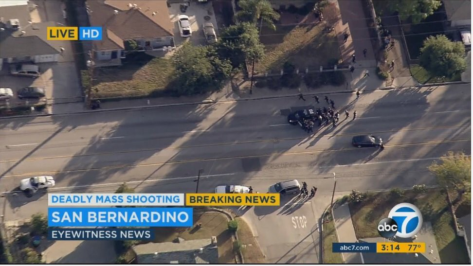 SWAT responding to car chase: car stopped, 3 suspects, shots fired, 1 suspect down. #SanBernadino https://t.co/JDspusoVIM