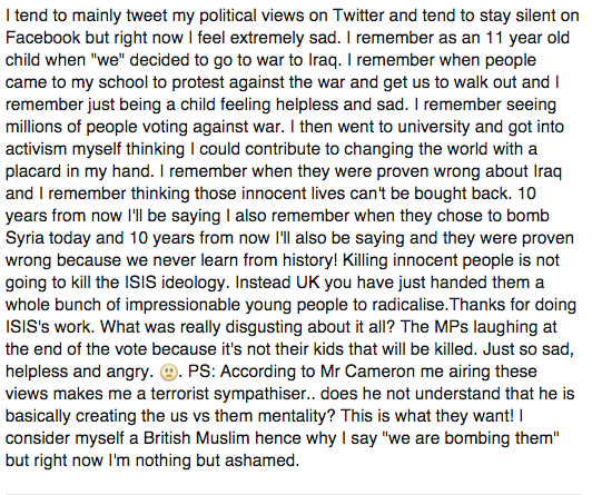 Twitter doesn't have enough characters for my thoughts on the #SyriaVote so posted this on Facebook. https://t.co/cZ3RntERw5