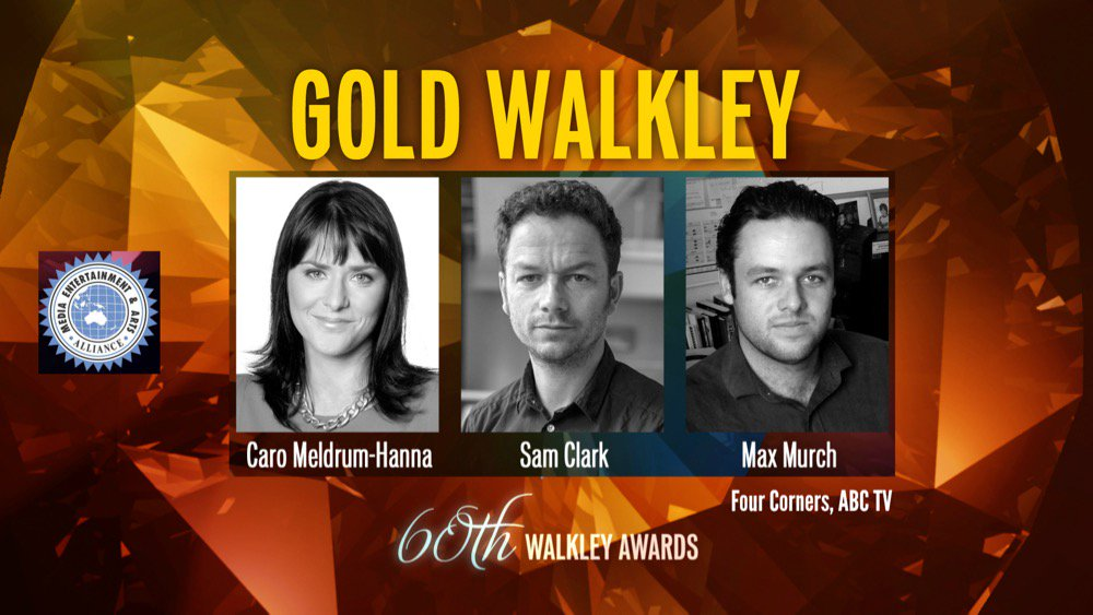 GOLD WALKLEY for greyhound racing investigation @4corners Max Murch, @caromeldrum, Sam Clark @sclark_melbs #Walkleys https://t.co/6B3P4V1hWG