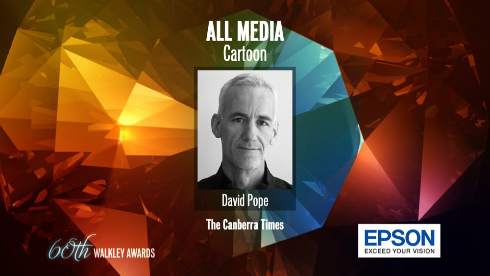 Cartoon award goes to David Pope @davpope @canberratimes #Walkleys https://t.co/O6g0RNGYLW