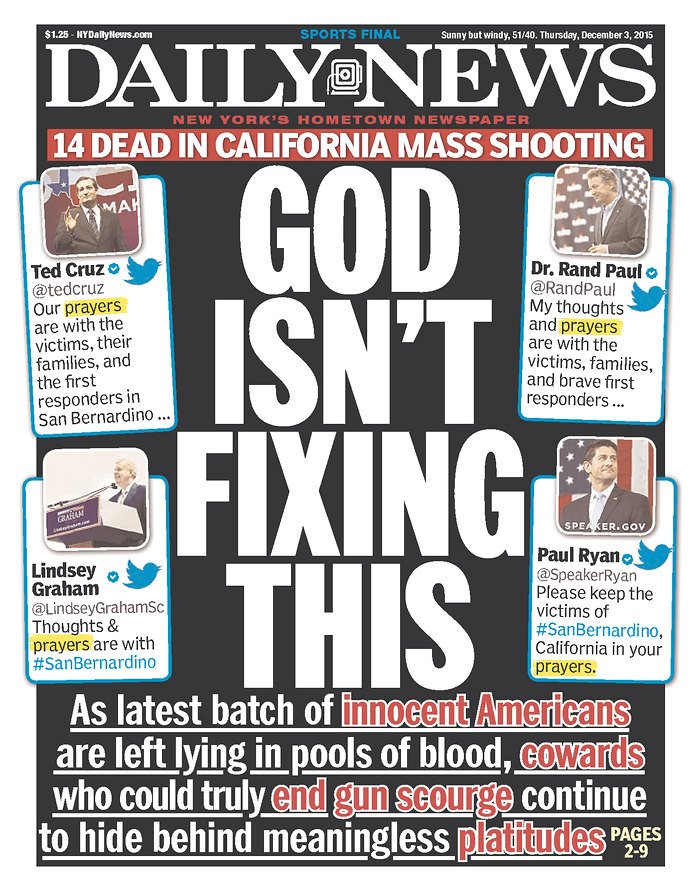 """GOP offers prayers, not solutions, on Calif. massacre"" https://t.co/ZiIXWCoTYH via @NYDailyNews #SanBernadino https://t.co/WwimJX31uA"