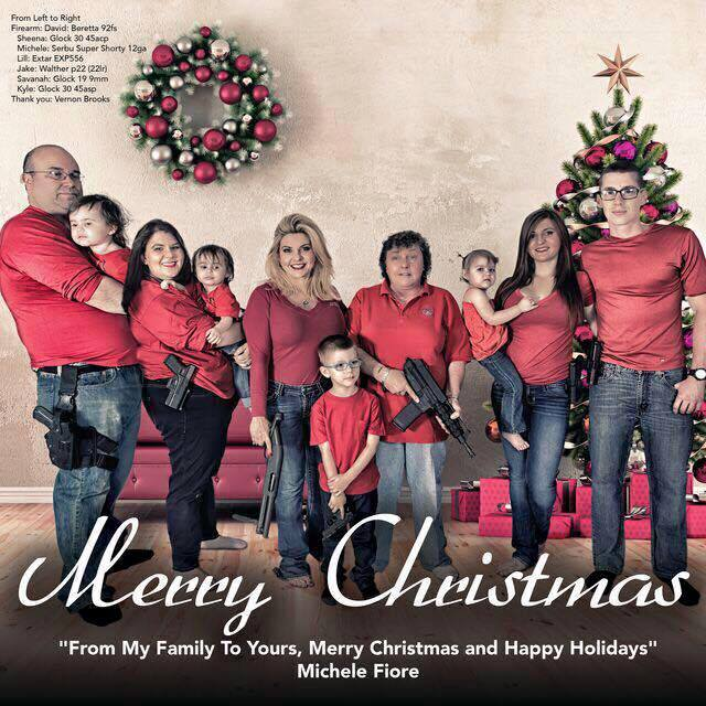 Merry Christmas card from Nevada state rep Michele Fiore. Real, not a joke. #GunViolence https://t.co/dPwuwcaZ4n