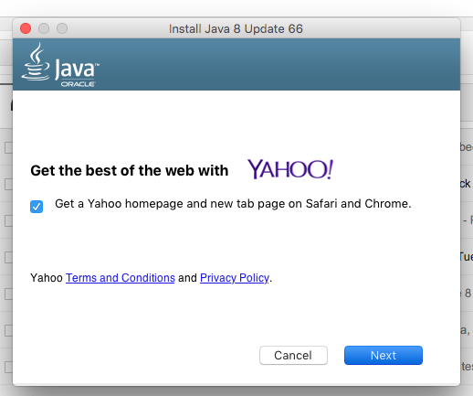 What the hell? @java and @Yahoo trying to sneak in a change to my homepage settings during the #Java8 update. https://t.co/quoQMp8ouh