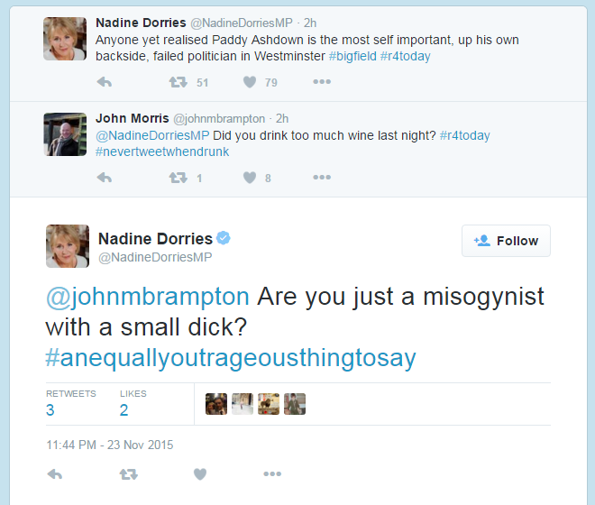 'I was sent abusive messages', claims @NadineDorriesMP, who sends abusive messages. https://t.co/jZ0WNtr1eo
