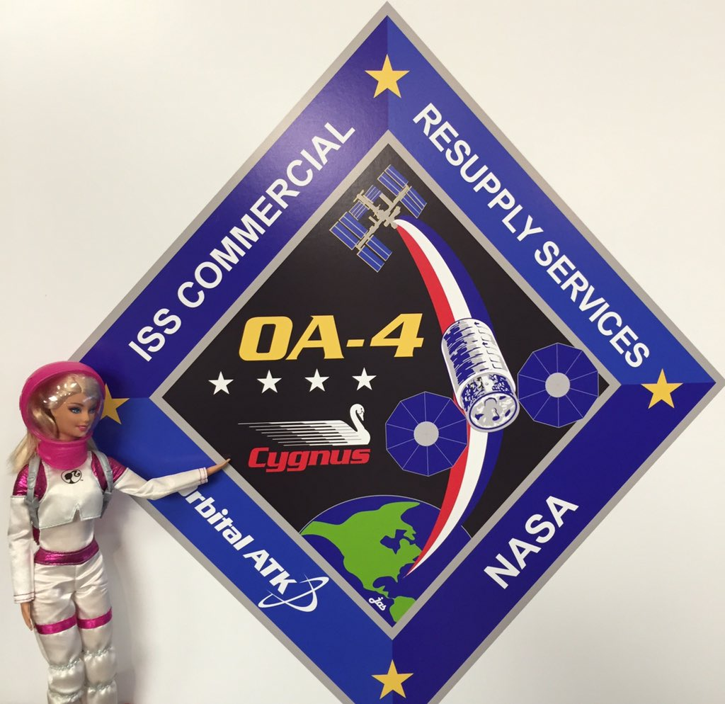 Mission patch for the @OrbitalATK @ulalaunch OA-4 #cygnus launch #NASASocial #NASABarbie https://t.co/cPgZHx93Qk