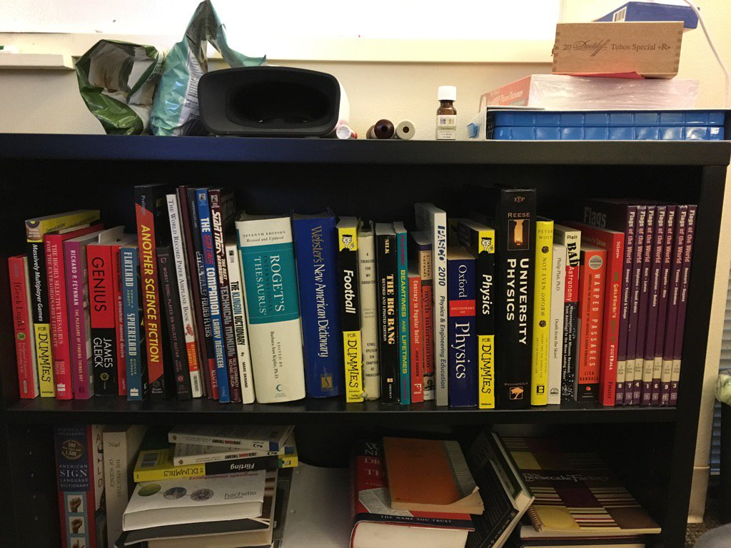 #BigBangTheory writers' room bookshelf. https://t.co/fBj3yGJQLX