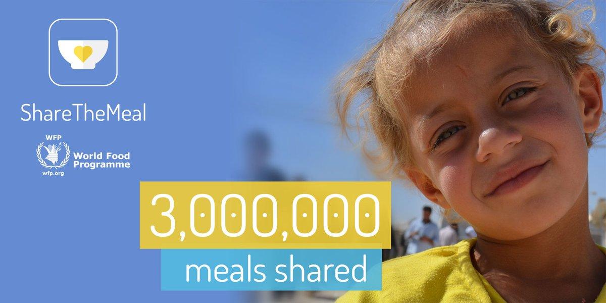 【祝300万食達成】1タップ、たった60円で、おなかを空かせたシリア難民の子ども達に1日分相当の食事をシェアできるアプリ、シェア・ザ・ミール。遂に300万食シェア達成!ぜひお試し下さい。https://t.co/sx7Hwj7hPT https://t.co/sgcTa8TYsZ