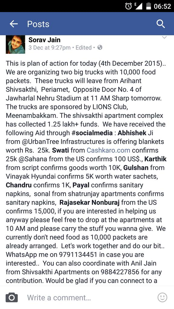 This is plan of action for today.  Anyone who wants to help.  Please feel free.  #ChennaiRains #ChennaiFloods https://t.co/4PjaXBx41V