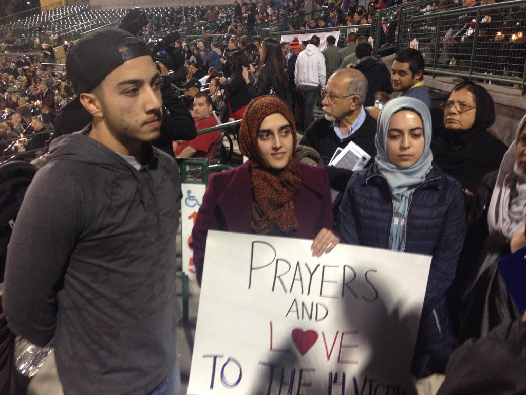 """Multi faith prayer vigil for victims in San Bernardino tonight. Theme is """"surrounded by love """" https://t.co/xzSl2WhjF6"""