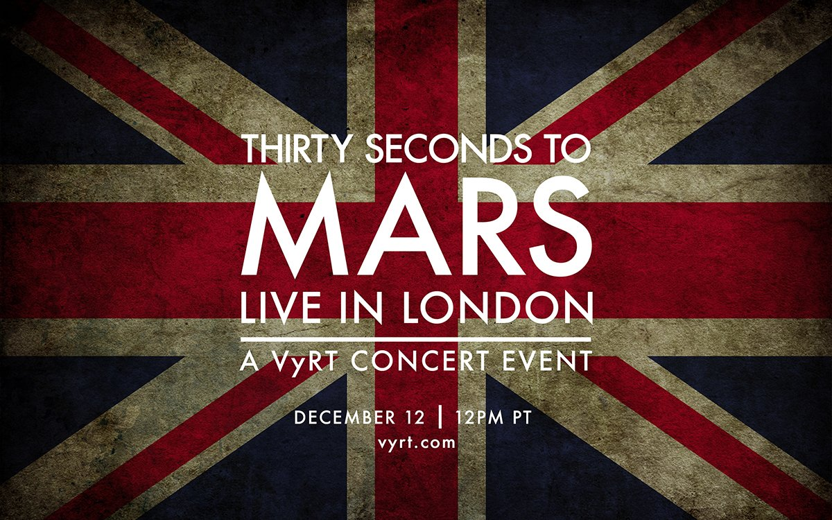 THIRTY SECONDS TO MARS presents #ChurchOfMarsLondon, a @VyRT Concert Experience - 12.12.15 https://t.co/g8lVsZNWko https://t.co/GfxcJlBNXb