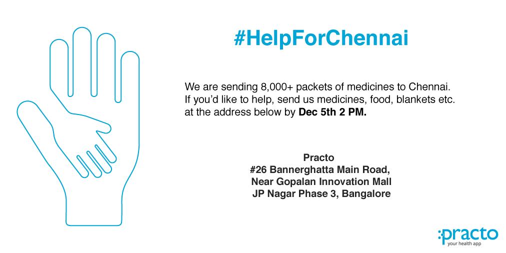#ChennaiRainsHelp: Help us help Chennai. #PractoForChennai https://t.co/EGtzgOsOgI