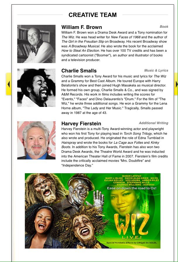ICYMI here's the Official #TheWiz #TheWizLive playbill with cast, creative team & much more https://t.co/dllKquhrUN https://t.co/BKo2uZl8JH