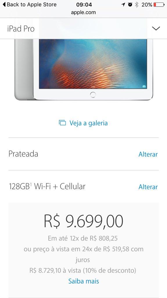 Vou aproveitar que o iPad pro não tá custando nem R$10k e comprar uns 3. https://t.co/1GWMSOqkGO