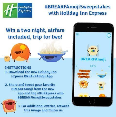 Who wouldn't want a free trip from @HIExpress?! Enter TODAY! #BREAKFAmojisweepstakes https://t.co/nYIb7Do9A1