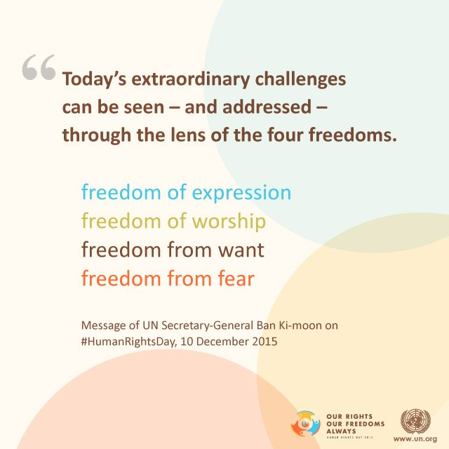 What are your 4 basic freedoms? https://t.co/tATZq8LMX5 #HumanRights https://t.co/uWBiwqk8qd