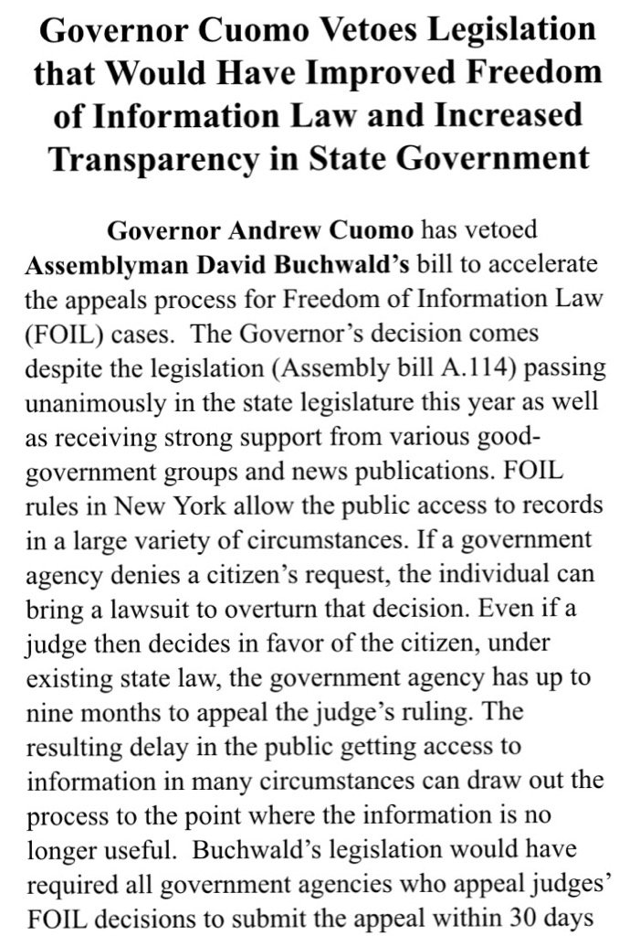 Cuomo has vetoed to two FOIL, transparency bills, says @DavidBuchwald https://t.co/kqOCOqFTKJ