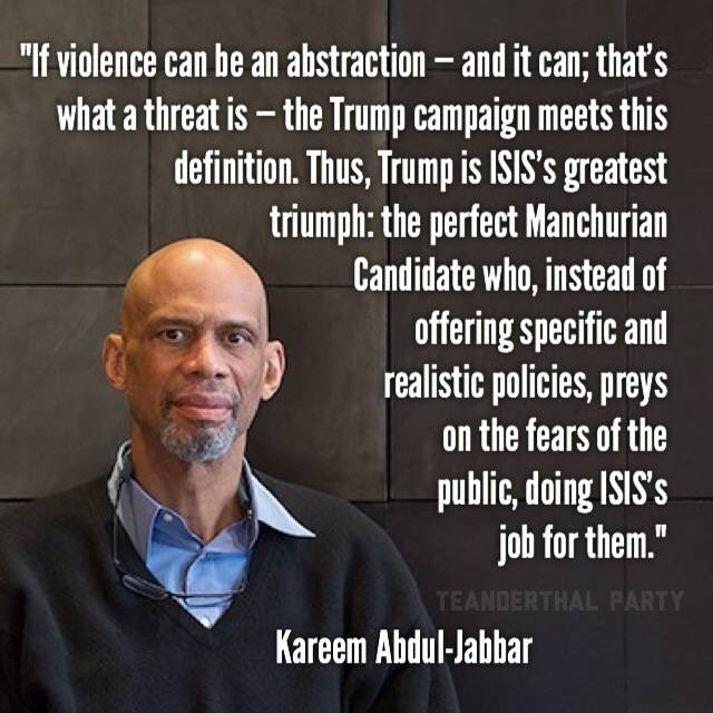 The best summary yet of the danger Trump poses. Abdul-Jabbar is brilliant. https://t.co/KXQwYOctOW