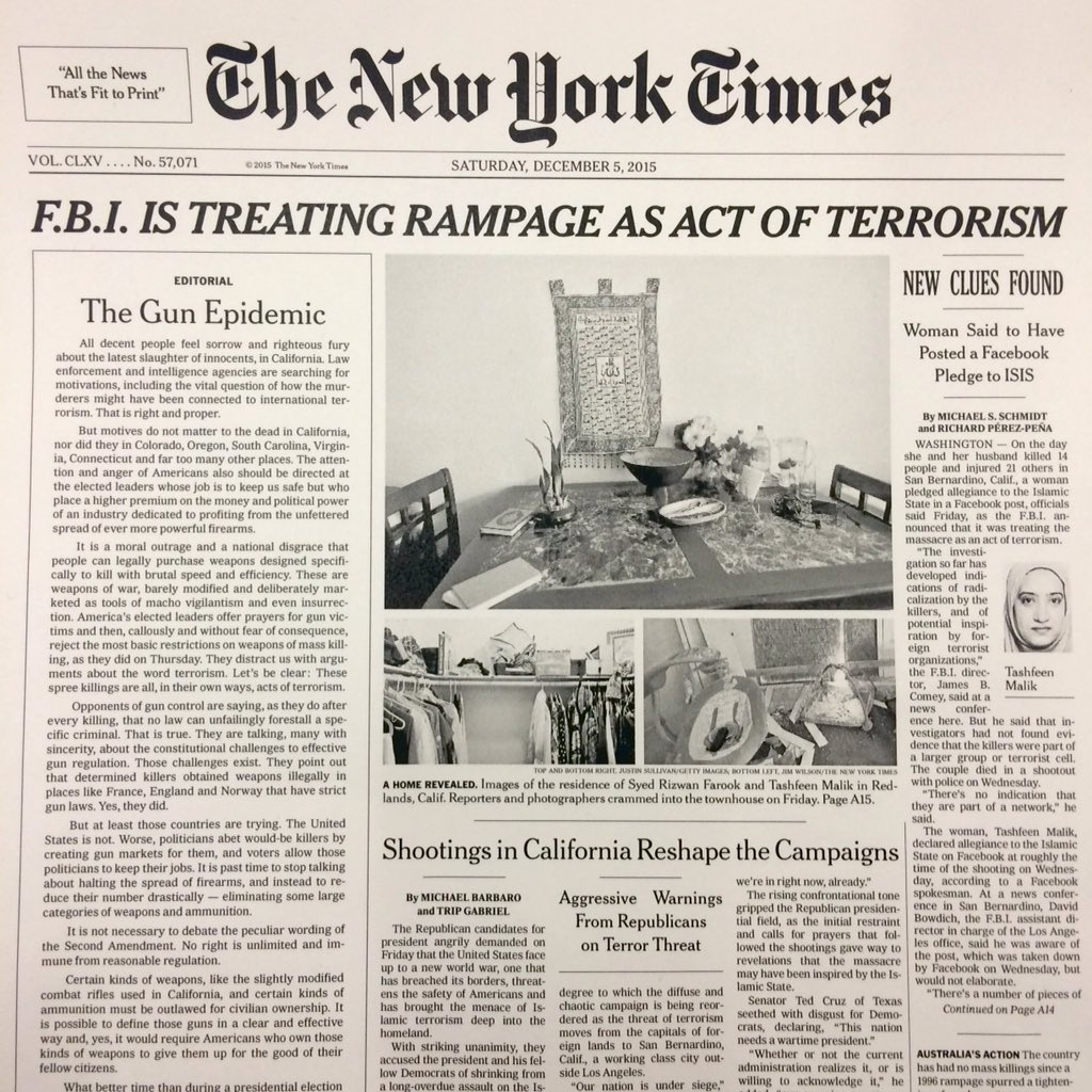 For the first time since 1920, @nytimes runs an editorial on Page One: https://t.co/nx7NByHJqW https://t.co/iilQmyPps2
