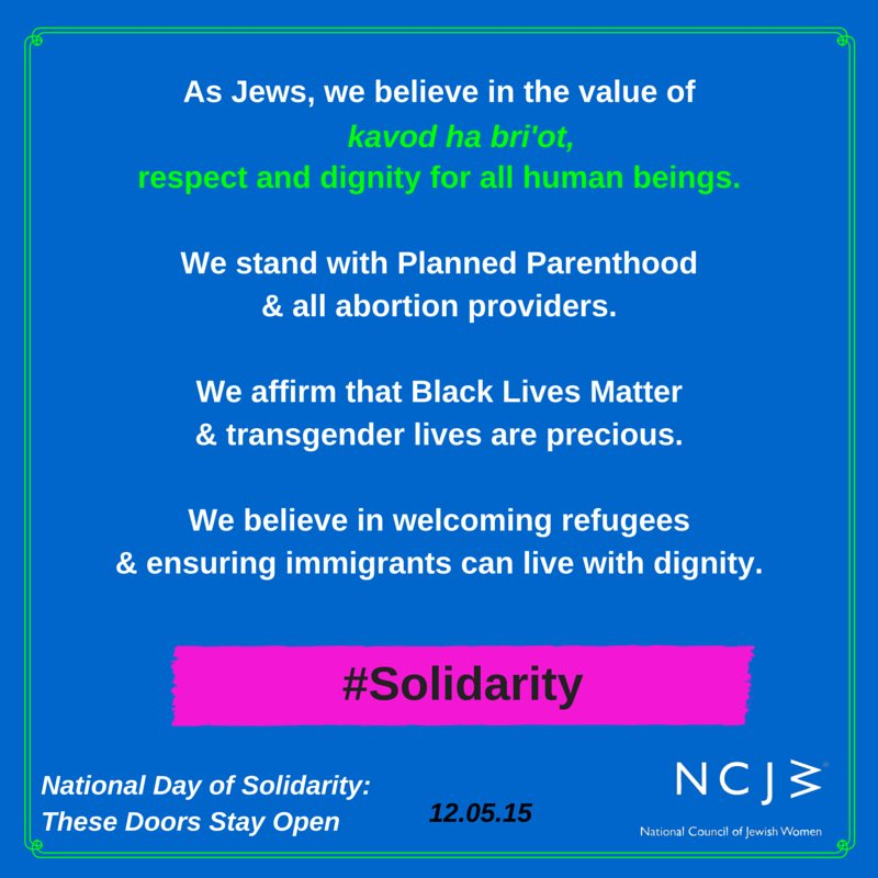 .@NCJW is proud to co-sponsor National Day of #Solidarity: These Doors Stay Open with @PPFA & myriad partners! https://t.co/SAkY3QfpIl