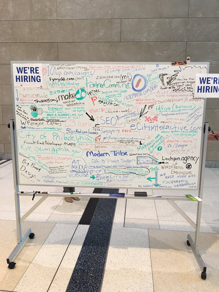 Hiring board at @WordCampUS. So many companies hiring! #wcus https://t.co/AtHwfVJ2qt