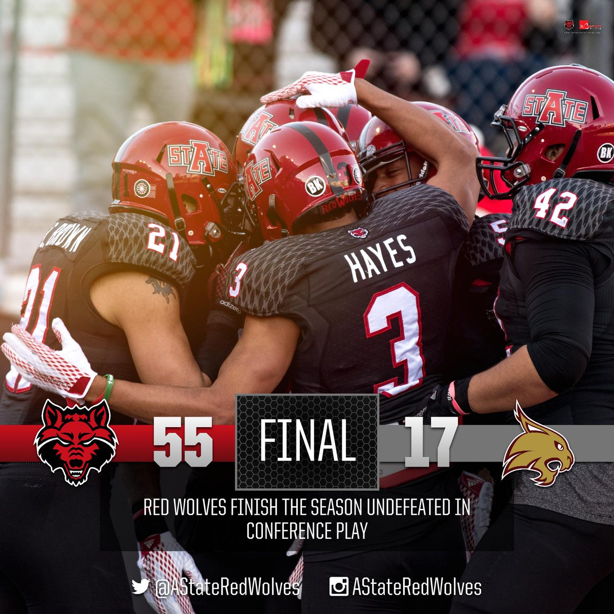 SUN BELT CHAMPS! A-State defeats Texas State 55-17 #WolvesUp https://t.co/zNFeCYihvp