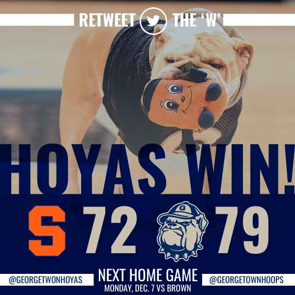 HOYAS WIN! @GeorgetownHoops defeats Syracuse 79-72! RETWEET the 'W' https://t.co/w4WGepoEls