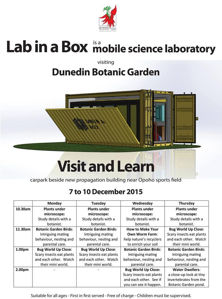 Dunedin Botanic Gardens is hosting @labinaboxnz Mon-Thur Timetable of awesome #OnInDunedin  https://t.co/ENJBJzy3Is https://t.co/7SmYBUFOE6