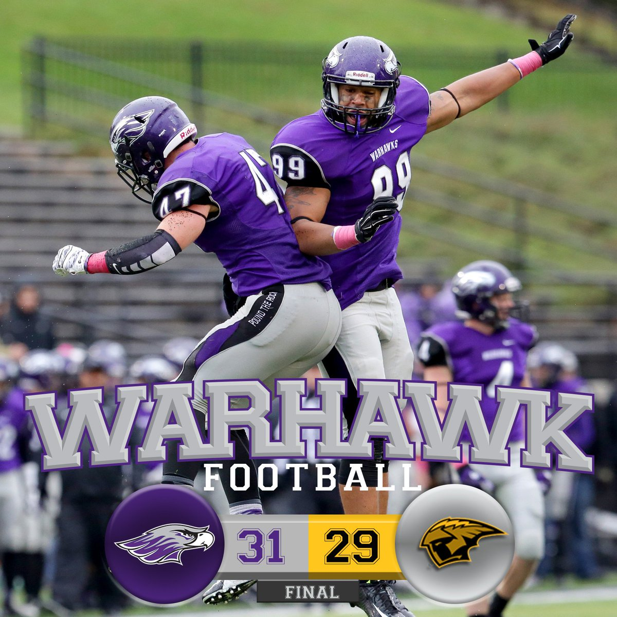 Warhawks defeat the Titans and will face Mount Union in the national semifinal. #BleedPurple https://t.co/y5XsS02ktP