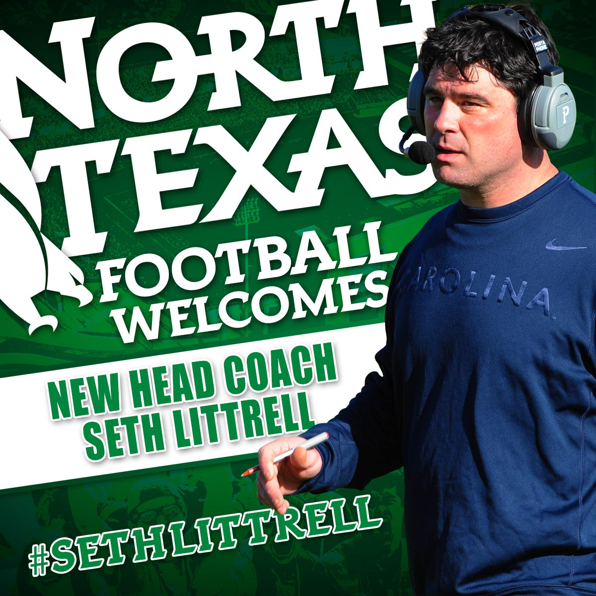 Welcome to North Texas #SethLittrell (@SethLittrell ). The new HC of #MeanGreen football.  https://t.co/5Lc82q10KQ https://t.co/BMXp7soiB0