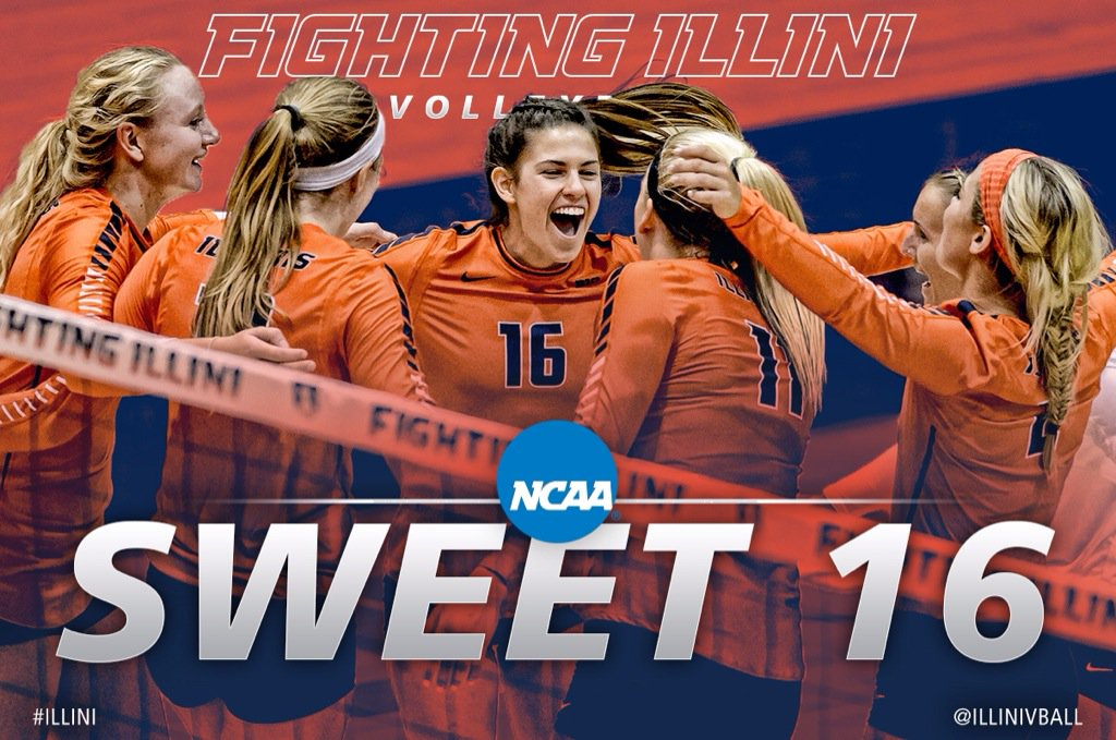 How sweet it is! #Illini headed to the Sweet 16 and will face @GopherVBall on Friday (12/11) at either 5 or 7:30 CT. https://t.co/l1h63Ye3vi