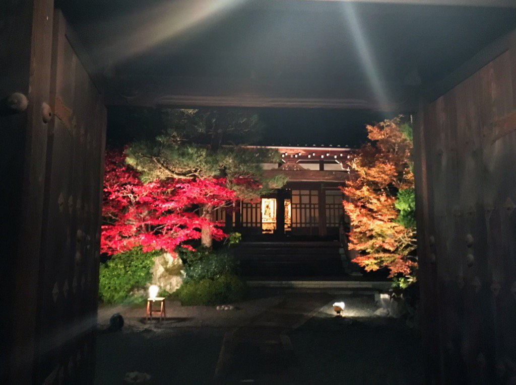 Passing by a temple lit up for special event. Nice autumn colors https://t.co/UwDN1szHv8