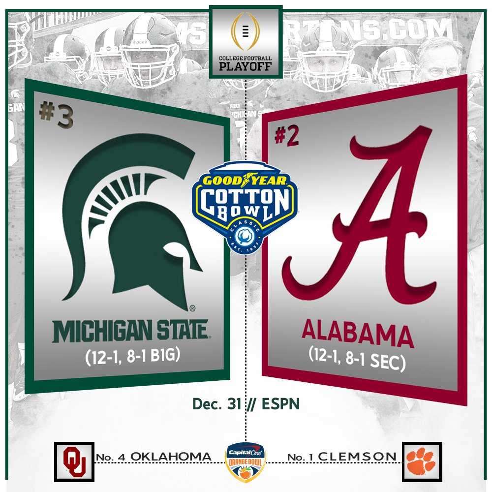 Heading back to the @CottonBowlGame! Spartans and Crimson Tide have a date set for New Year's Eve. #ReachHigher https://t.co/ag87sQhCTC