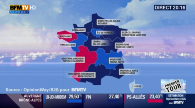 """#France tonight. Dark blue = FN, light blue = """"Republicans"""" (traditional right), rose = Socialists. https://t.co/5L40vFoW3i"""