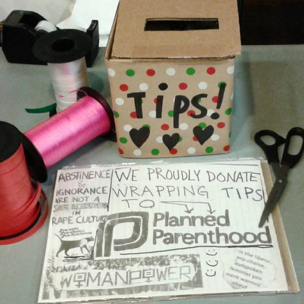 We have volunteer gift wrappers in store up until the holiday. All tips donated to Planned Parenthood. #standwithpp https://t.co/Q9UCaJBwMb