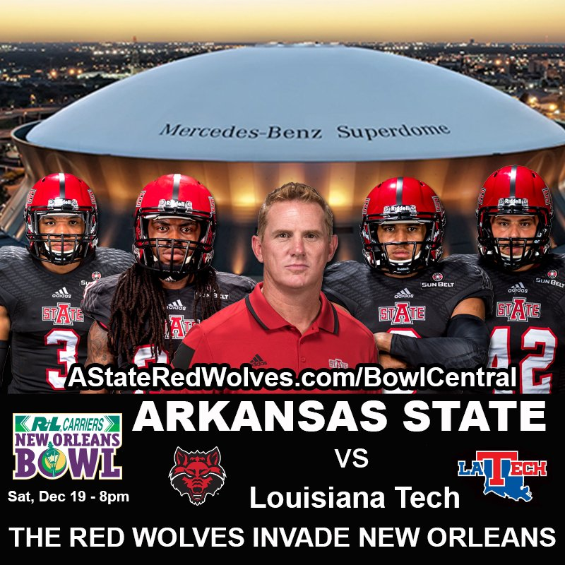 Here we go! @RedWolvesFBall vs La Tech in the @NewOrleansBowl 12/19 at 8pm! Bowl Central: https://t.co/LnbAaSEFr1 https://t.co/x2VM3RBdbA