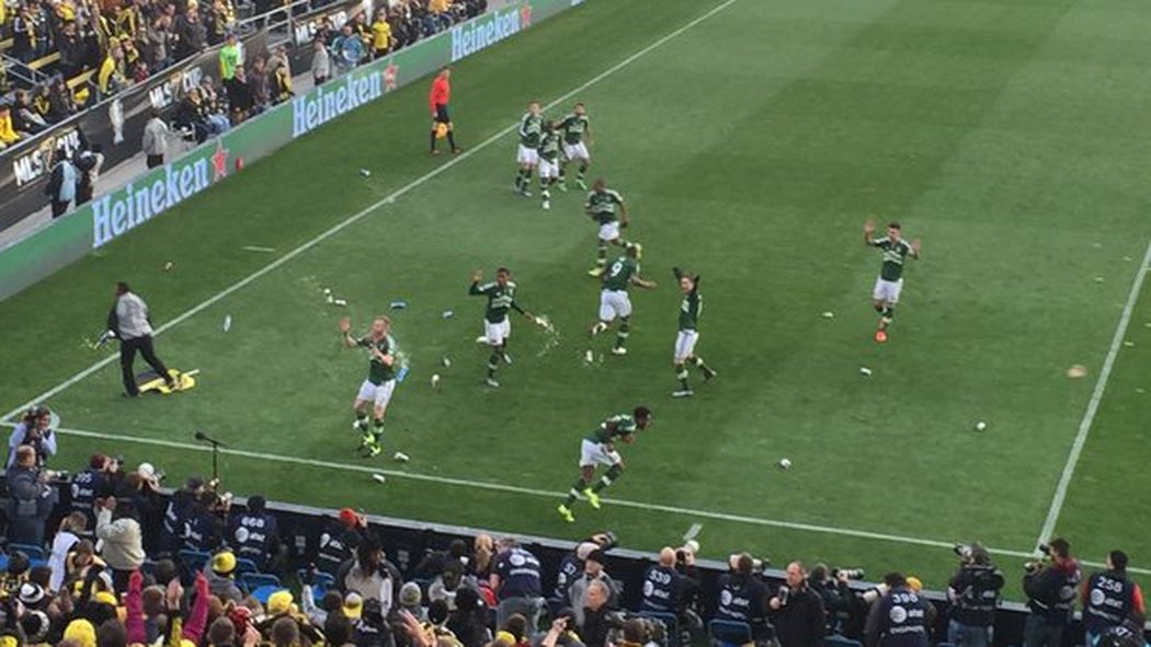 Crew supporters throw bottles at Timbers players after opening goal in #MLSCup https://t.co/3UW49ivy9j https://t.co/EpfwyLgmjN