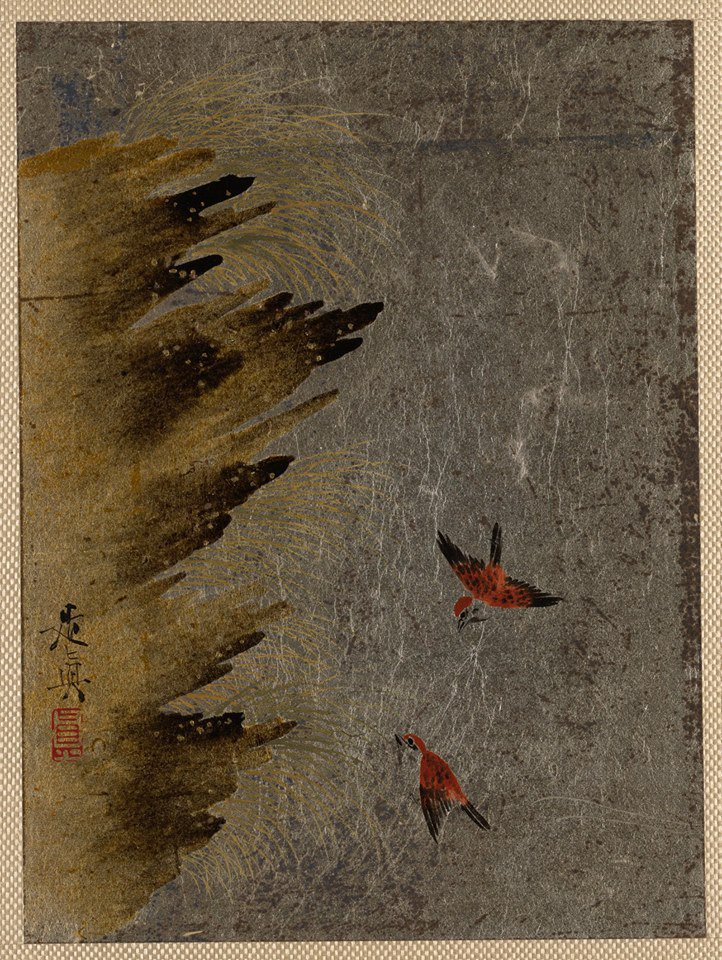 Shibata Zeshin,Birds and Jutting Rocks Edo period (1615–1868), brown and gold lacquer on silver paper 3 1/2x4 3/4 in https://t.co/fDnppC1Nsj