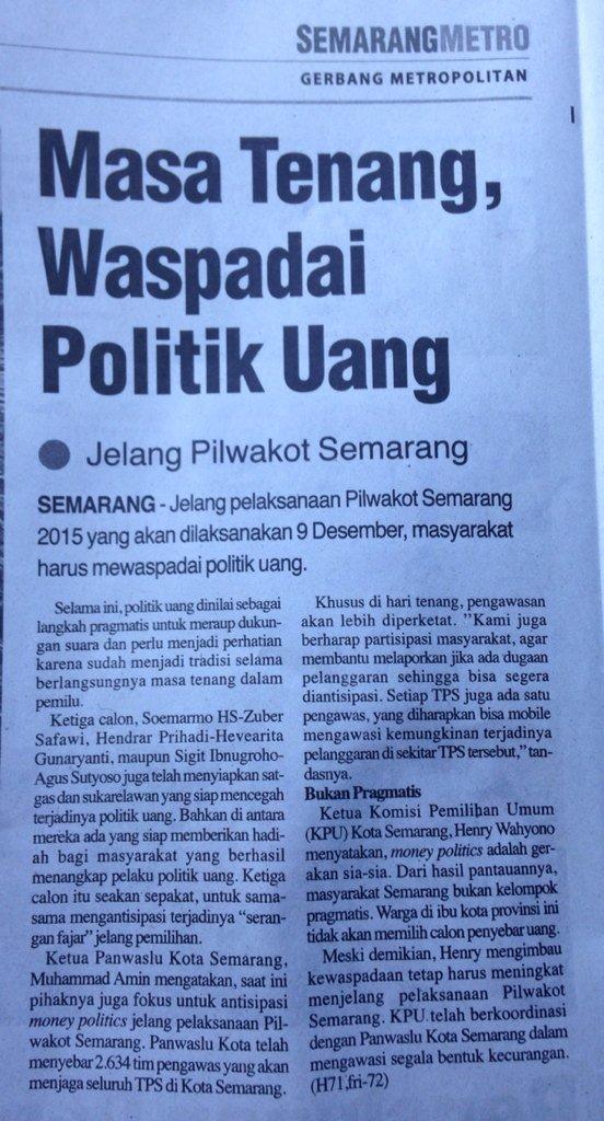 Warga Kota/Kab Semarang, Mari waspadai politik uang Jelang Pilkada @mundjirin @hendrarprihadi https://t.co/h3CJANtygP