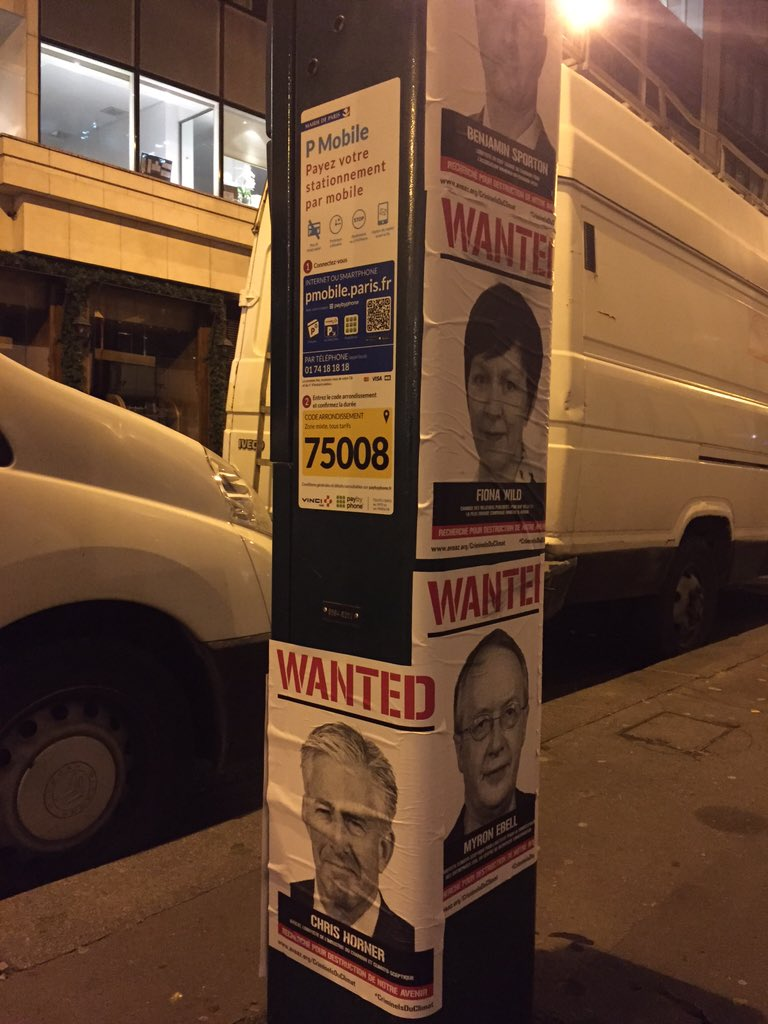 "Eco-left activists put ""Wanted"" posters outside our event space last night. @CFACT  #COP21 We are not intimidated. https://t.co/uYWJMDkX98"