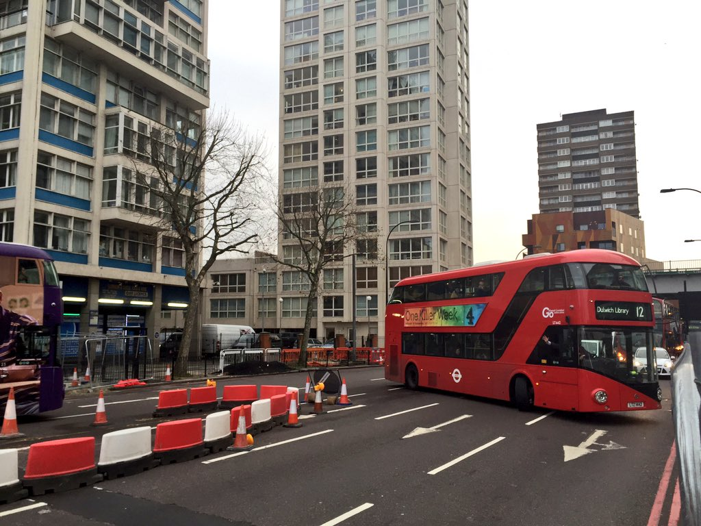 Route 12 bus doing three point turn in New Kent Road having gone wrong way at new Elephant & Castle junction. https://t.co/voev6XsDKw